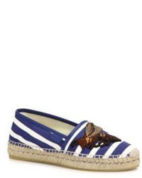 Gucci Pilar Embroidered Stripe Espadrille Flats