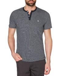 Navy and White Horizontal Striped Henley Shirt