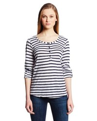 Navy and White Horizontal Striped Henley Shirt