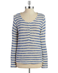 Splendid Striped Henley Sweater