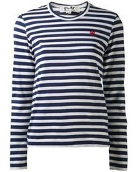 Navy and White Horizontal Striped Long Sleeve T-shirt