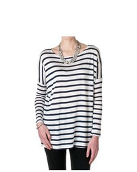 Cherish Long Sleeve Striped Tunic Top Navy Size Large