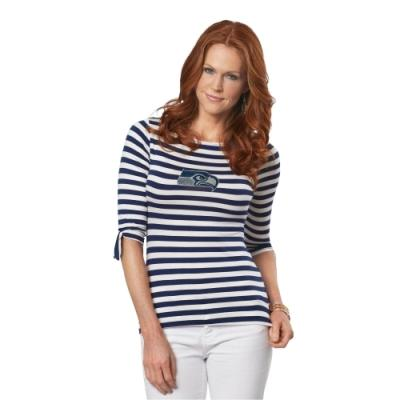 Navy And White Horizontal Striped Long Sleeve T Shirt
