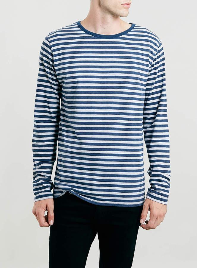 3def7d057d ... Horizontal Striped Long Sleeve T-Shirts Topman Light Grey Marl Navy  Wash Stripe Longsleeve T Shirt ...