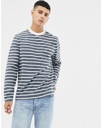 7cb33544d1 Navy and White Horizontal Striped Long Sleeve T-Shirts for Men ...