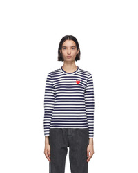 Comme Des Garcons Play Navy And White Striped Heart Patch Long Sleeve T Shirt