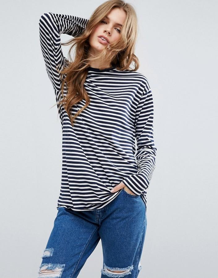 75a2f51e77 Asos Oversized Striped Long Sleeve T Shirt, $22 | Asos | Lookastic.com