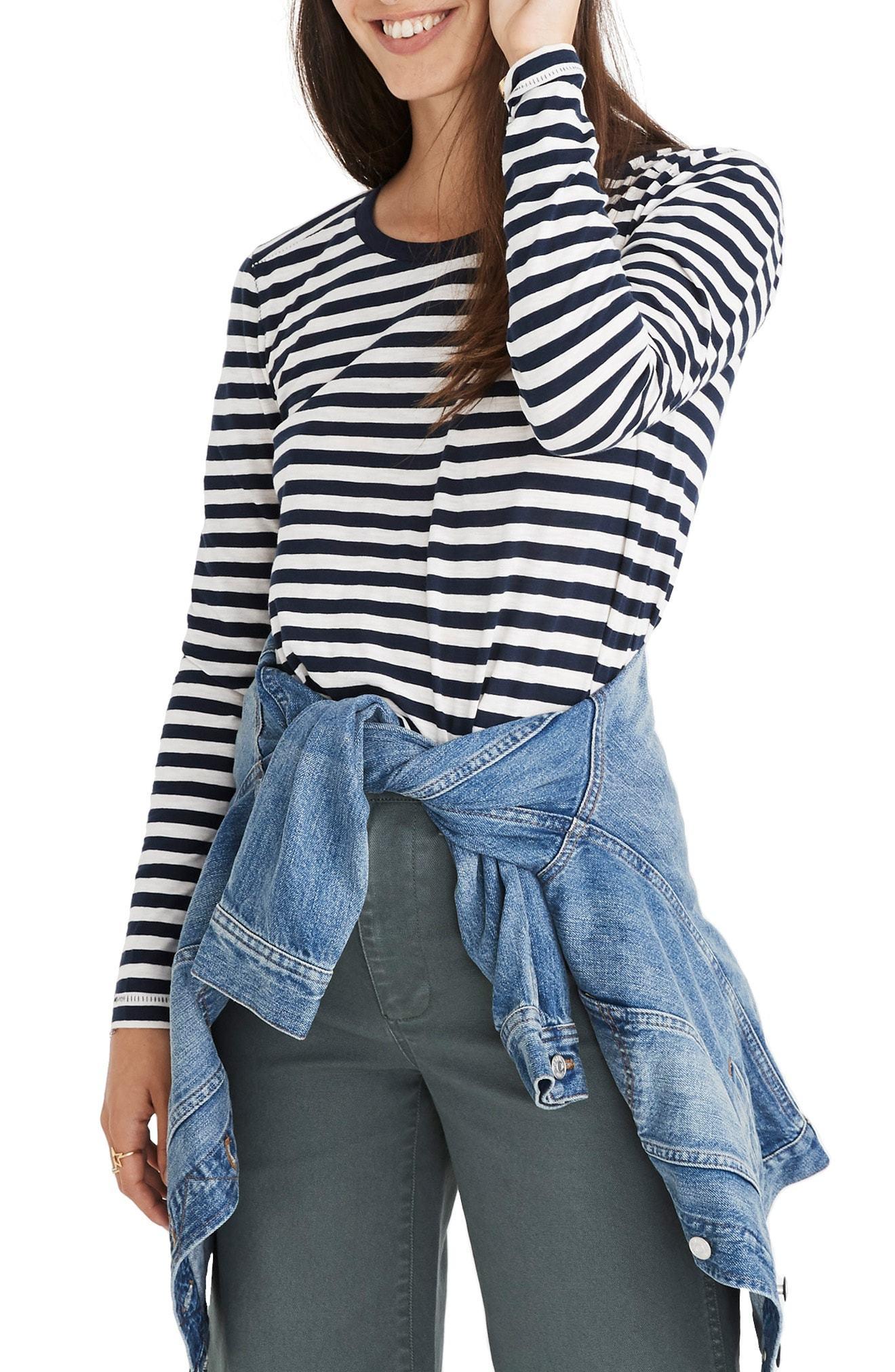 fe8c05dac4 Madewell Whisper Cotton Stripe Long Sleeve Crewneck Tee, $32 ...