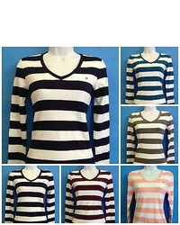 Tommy Hilfiger Womans Deep V Neck Long Sleeve Signature Flag Striped T Shirt