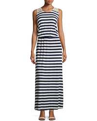 Striped maxi dress w embroidery navywhite medium 233162