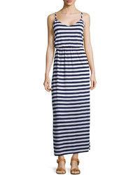 Striped v neck maxi dress neat navywhite medium 233160