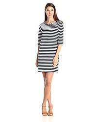 Navy and White Horizontal Striped Midi Dress