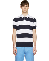 DSQUARED2 Navy White Knit Stripe Polo Shirt