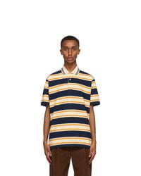 Gucci Orange And Navy Striped Polo