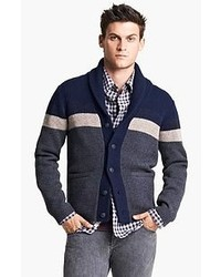 Navy and White Horizontal Striped Shawl Cardigan
