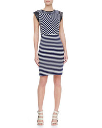 Derek Lam Sheath Dress With Leather Cap Sleeves Navywhite