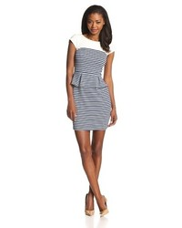 Striped peplum sheath dress medium 113269