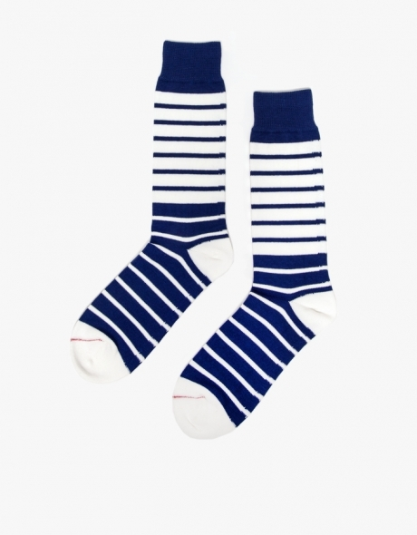 dcee293f741 Navy and White Horizontal Striped Socks Breton Striped Sock In Navy ...