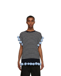 JW Anderson Navy And Off White Wool Pom Pom Sleeveless Sweater