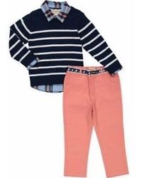 Beetle Thread 3 Piece Striped Sweater Shirt And Pant Set In Navy