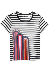 Navy and White Horizontal Striped T-shirt
