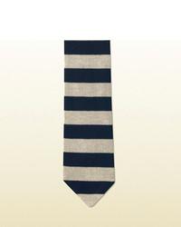 Gucci Wide Stripe Knit Cotton Tie