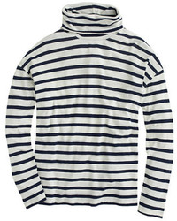 Navy and White Horizontal Striped Turtleneck