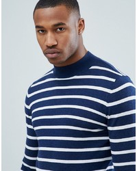 ASOS DESIGN Knitted Striped Turtle Neck Jumper In Navy
