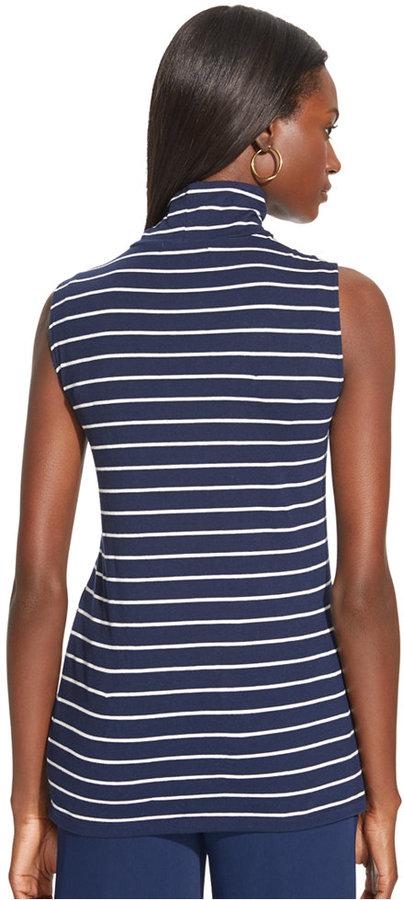 1b3da403e3c0c2 Lauren Ralph Lauren Striped Sleeveless Mock Turtleneck Top