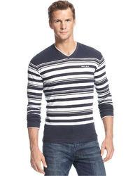 Armani Jeans Shirt Striped V Neck Extra Slim Fit