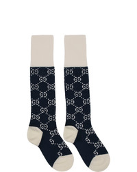 Gucci Navy And White Gg Supreme Long Socks