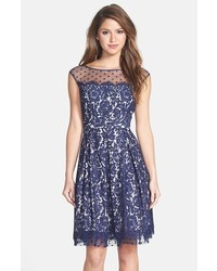 Illusion yoke lace fit flare dress medium 369790