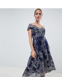 City Goddess Petite Lace Bardot Midi Dress