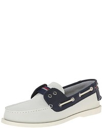Navy and White Leather Boat Shoes