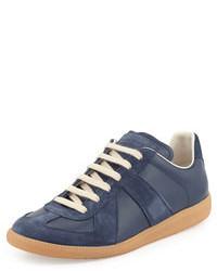 Maison Martin Margiela Replica Leather Low Top Sneaker Navy