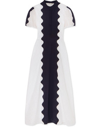 Valentino Paneled Broderie Anglaise Cotton Blend And Silk Midi Dress