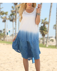 White Blue Ombr Embroidered Shift Dress