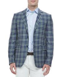 Etro Two Button Plaid Blazer Bluegreen
