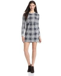 Plaid long sleeve zip back dress medium 30698