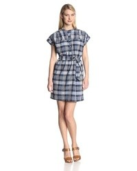 Winona cottonlinen plaid short sleeve shirt dress medium 30699