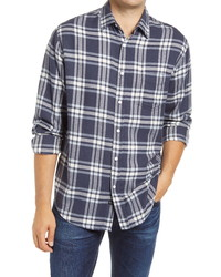 Navy and White Plaid Flannel Long Sleeve Shirt