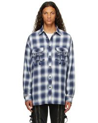 TAKAHIROMIYASHITA TheSoloist. Blue White Check Flannel Shirt