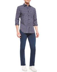 Long sleeve plaid sport shirt bluewhitenavy medium 320462