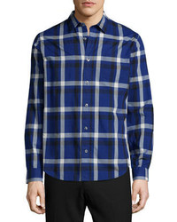 Melrose plaid long sleeve sport shirt blue medium 383521
