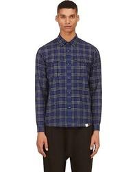Navy plaid shirt medium 51221