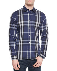 Burberry Nelson Long Sleeve Woven Check Shirt Navy