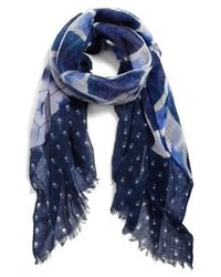 Navy and White Plaid Scarf