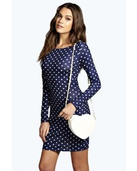 Boohoo olivia polka dot long sleeve bodycon dress medium 281785