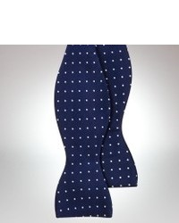 Navy and White Polka Dot Bow-tie