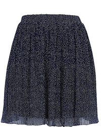 Navy and White Polka Dot Chiffon Full Skirt